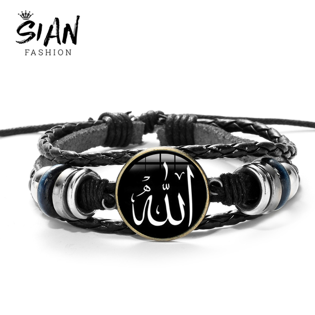 SIAN Arabic Muslim God Allah Charm Bracelet Multilayer Black Punk Leather Bracelets Men Women Islamic Quran Arab Classic Jewelry