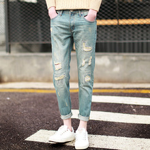 Top quality 2019 Fashion harem Ripped hole Distressed Denim tailor line Denim harem men's jeans Ankle Length Pants boys trousers цена 2017
