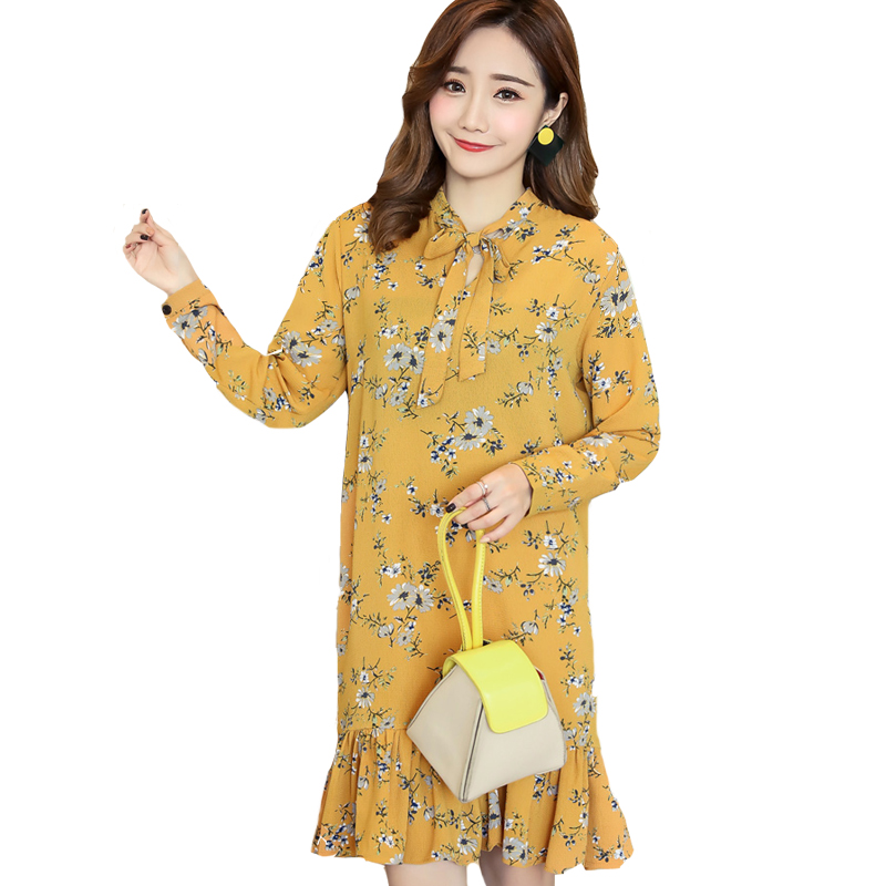 2018 Women Print Dresses Summer Spring Casual Long sleeve dress women Bow Elegant Women Fashion Loose Slim Casual Dresses