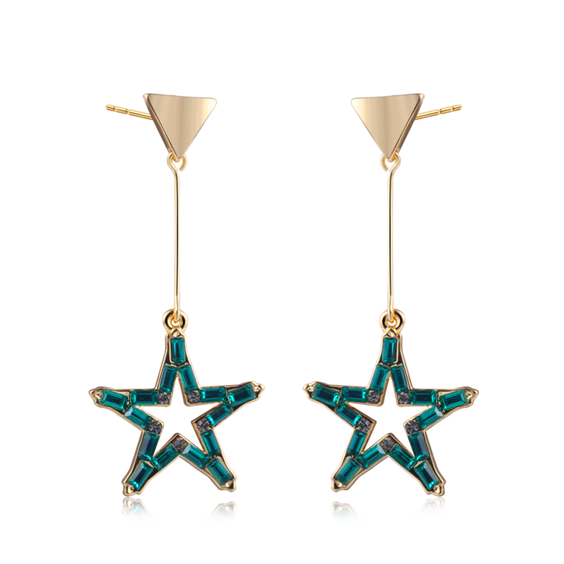 Fashion Brand New Green AAA Cubic Zirconia Star Shaped Drop Earrings Line ,Womens Accessaries,Gold Colour