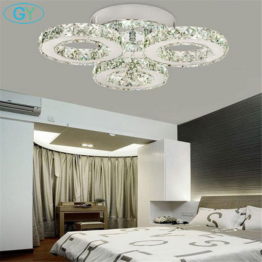 AC100-240V 24W LED crystal ceiling light 3-lights lustres home decoration luminaria led ceiling lights for living room ...