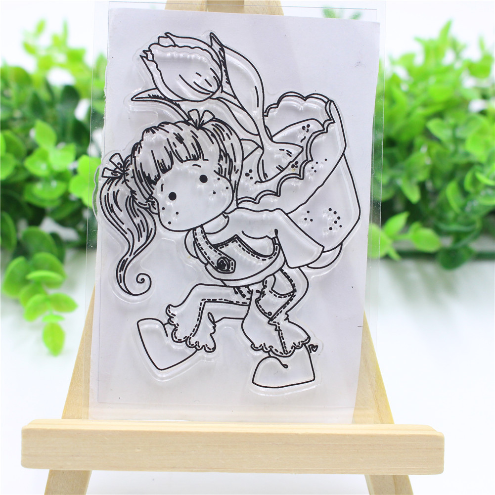 Lovely Girl Transparent Clear Stamp DIY Silicone Seals Scrapbooking/Card Making/Photo Album Decoration lovely animals and ballon design transparent clear silicone stamp for diy scrapbooking photo album clear stamp cl 278