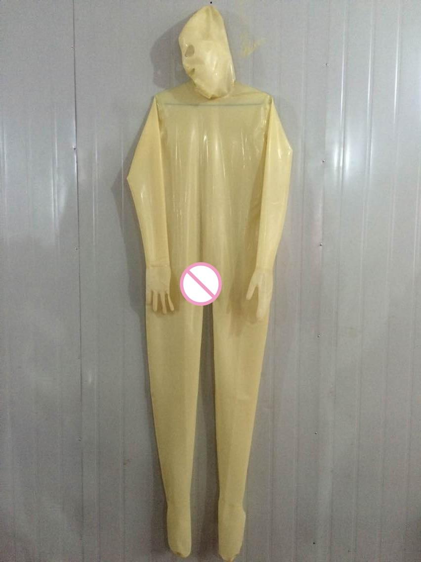 Latex Rubber Catsuit Badysuit Suit Binding Bundle Transparent Mask Unisex Masquerade