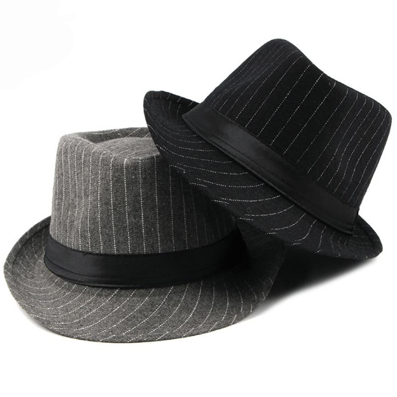 cbd15a0f7 US $7.73 46% OFF|HT1516 New Fashion Men Fedora Hat British Style Striped  Trilby Hat Classic Retro Derby Bowler Jazz Hat Casual Grey Black Fedoras-in  ...