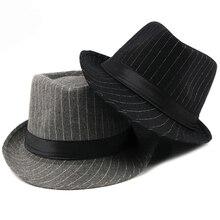 HT1516 New Fashion Men Fedora Hat British Style Striped Trilby Classic Retro Derby Bowler Jazz Casual Grey Black Fedoras
