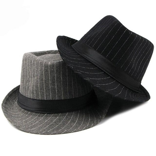 HT1516 New Fashion Men Fedora Hat British Style Striped Trilby Hat Classic  Retro Derby Bowler Jazz a41caefed4bf