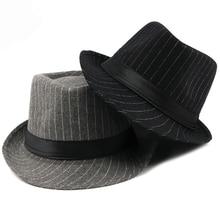 HT1516 New Fashion Men Fedora Hat British Style Striped Tril