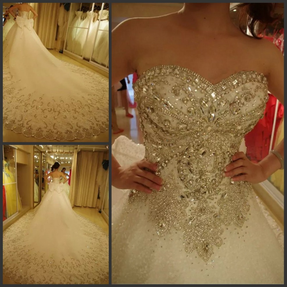 2017 luxury bridal wedding gown sweetheart sparkly bling for Diamond sweetheart wedding dress