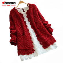 Women Cardigan Solid Color Autumn Winter Mori Girl Style Plus Size Sweater Knitted Cotton Short Jacket Fashion Ladies Coat TM