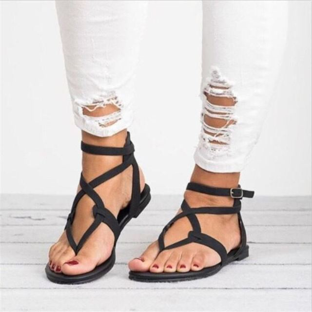 754ac183f New summer gladiator women sandals cross strappy flat beach ladies shoes  fashion open toe big size sandals zapatos mujer
