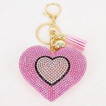 Прекрасный 6 цветов Двойное сердце брелок кисточкой Подвески модные подарки брелки персонализированные сумки декоративные принадлежности