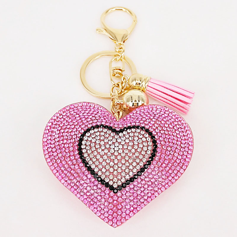 New Lovely 6Colors Double Hearts Keychain Tassel Pendants Fashion Gifts Key Chains Personalized Handbag Decorative Supplies