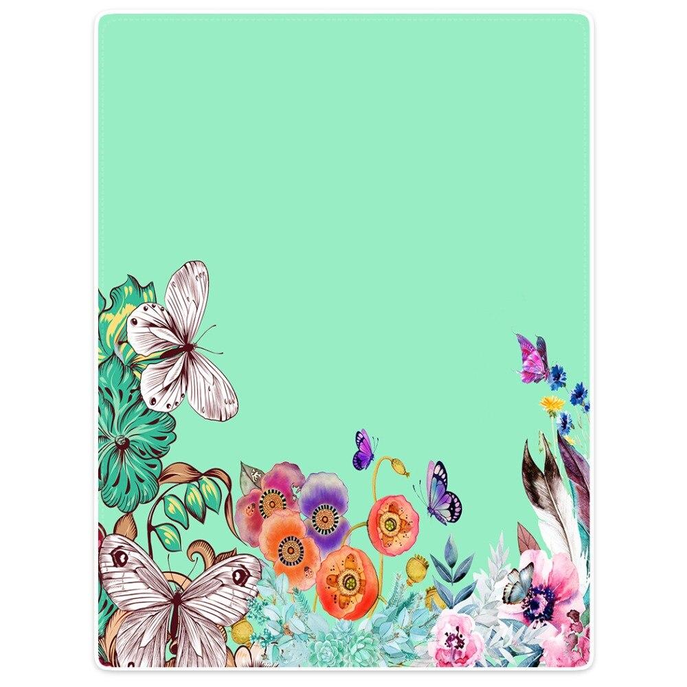 HommomH Blanket Throw Comfort Warm Soft Plush Throw For Sofa Flower Poppy Flower Butterfly Green