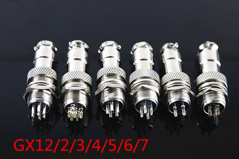 1PCS GX12 Diameter 12mm Male Wire Panel Connector Circular Screw Type Electrical Connector Socket Plug metal gx12 4 4pin male 12mm screw type cable panel connector aviation plug
