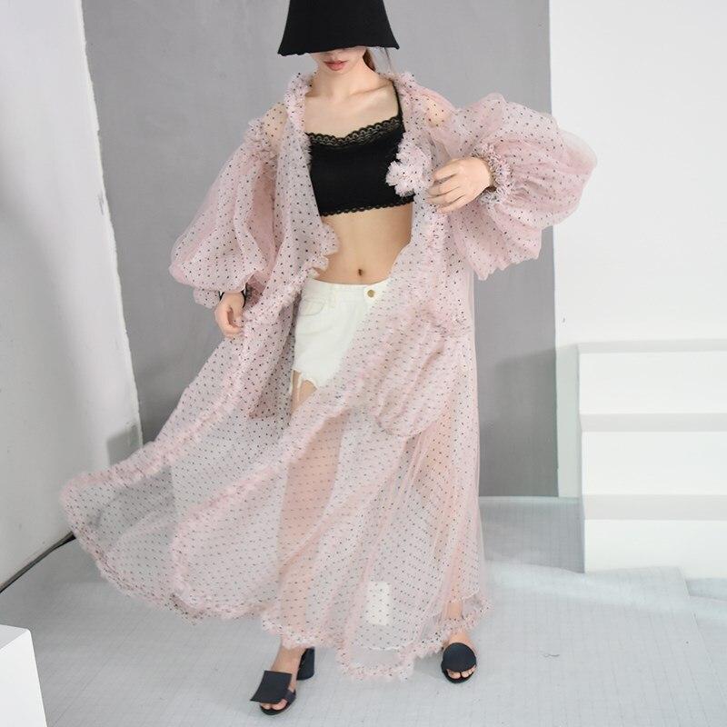 Élégant Grande Manches Femmes Taille Base New 2018 Lanterne Plage Rose blanc col Imprimé Chemises Summer V Dot De Lâche Décontracté Longues Blouses Organza htsrxBQdCo
