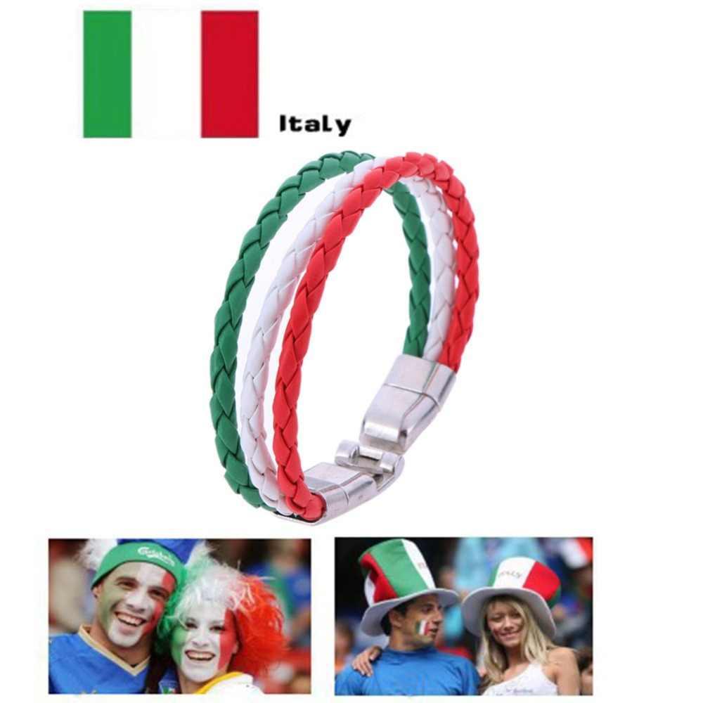 2019 לאומי דגל עור צמיד לגברים נשים לארוג קלוע בעבודת יד חבל צמיד תכשיטי איטליה ES DE RU