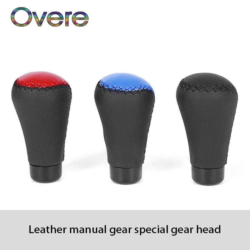 Overe 1Set Car Gear Shift Knob Shifter Knob Leather For Hyundai Solaris I30 creta IX25 Suzuki Swift SX4 Lada Vesta Granta Kalina|Gear Shift Collars| |  - title=