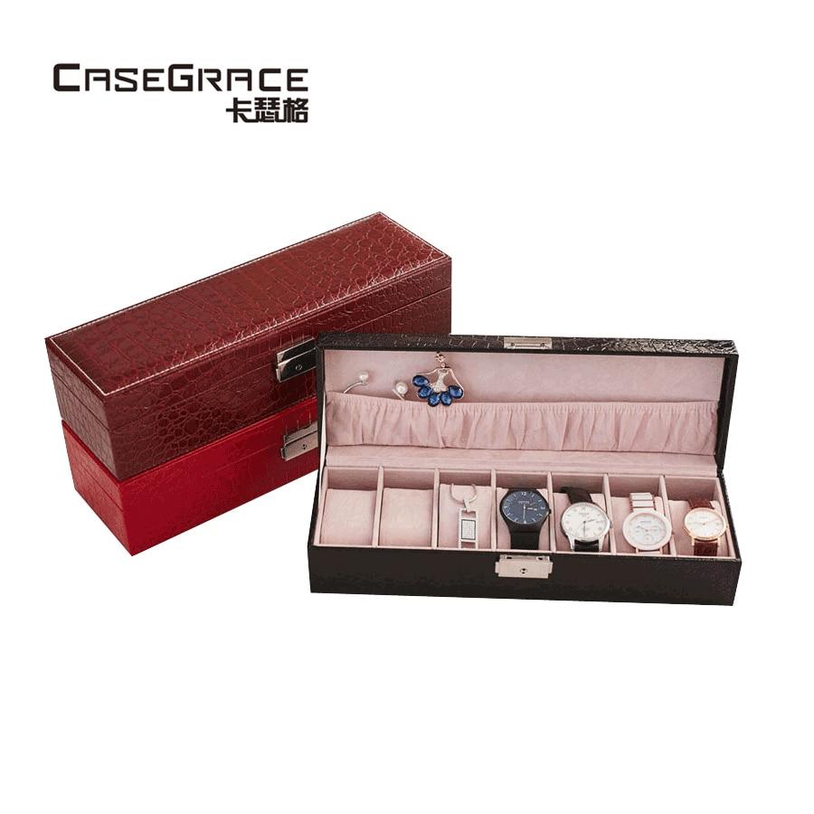 Casegrace crocodile pattern PU leather rectangle jewelry storage boxes fine handmade safety lock women watch storage bins 03102