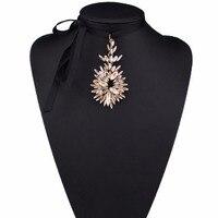 Women S Gorgeous Crystal Flower Pendant Bib Necklace Long Black Rope Chain Collar Statement Choker Jewelry