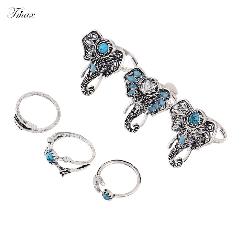 TengMaxi Exquisite finger ring for lady zircon Simple Pattern Women Wedding Elephant Engagement Ring Set Silver Plated jewelry