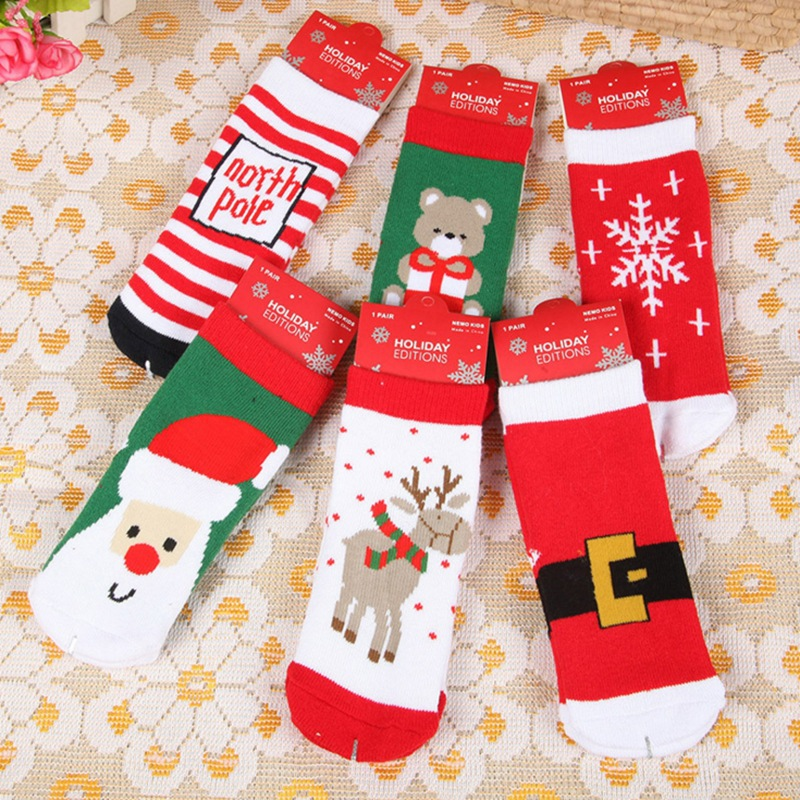 Pure Cotton Cartoon Christmas Themed Socks For Baby Infant Santa Claus Snowflake Elk Xmas Jacquard Sock 0~1 Year Old Baby
