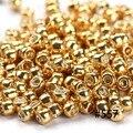 1.5 MM 3000 unids 15/0 Oro Plata Color/DIY hecho a mano de cristal redonda spacer joyería que hace al por mayor, japón semilla cuentas de Metal de la Serie