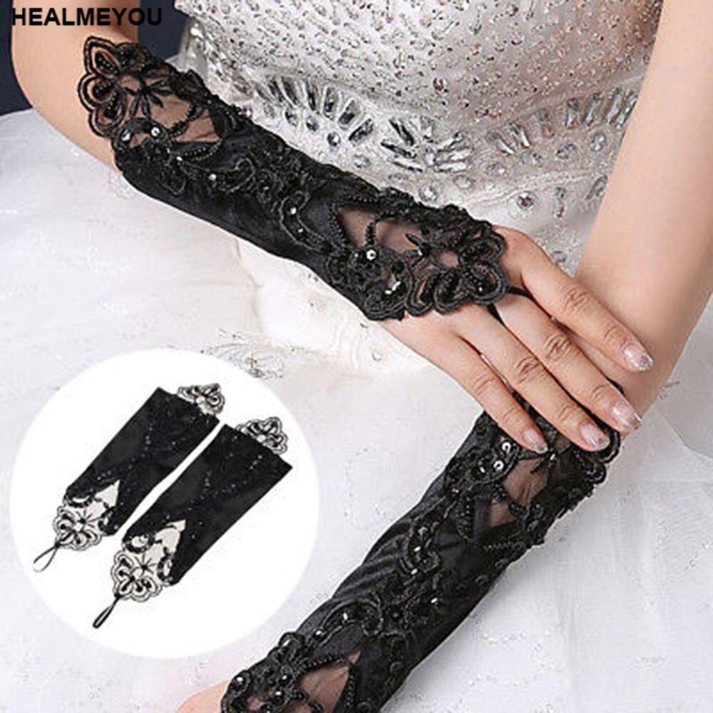 Zielsetzung Schwarz Spitze Lange Handschuhe Stretch Fingerlose Bestickte Abend Hochzeit Handschuhe Bekleidung Zubehör Damen-accessoires