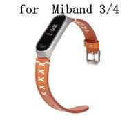 Correa de cuero para Xiaomi Mi band 4, correa de cuero negro y marrón para reloj inteligente xiaomi mi Band 4/3, 50 Uds.