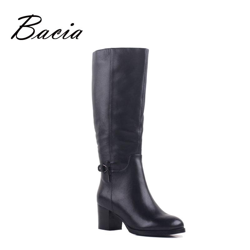 Bacia 2016 Genuine Leather boots For Women, High Heels Knee High Boots, Size 36-40 Winter Shoes With Wool Fur Long Shoes VB091 bacia winter boots for women full grain leather boots heels 5 8cm wool fur