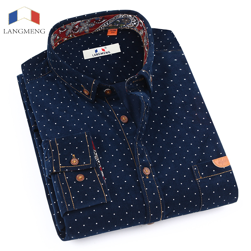 LANGMENG New Brand Long Sleeve Men Casual Shirts Male Warm Formal Men Dress Shirt Mens Polka Dot Corduroy Shirt Masculina Camisa