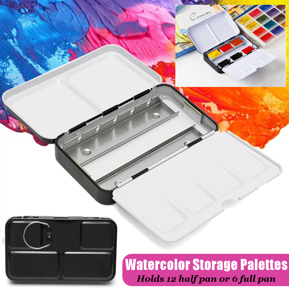 Can Accommodate 12 Grids Empty Watercolor Paints Tins Box Palette Metal Painting Storage Full Pans For Art Painting Black