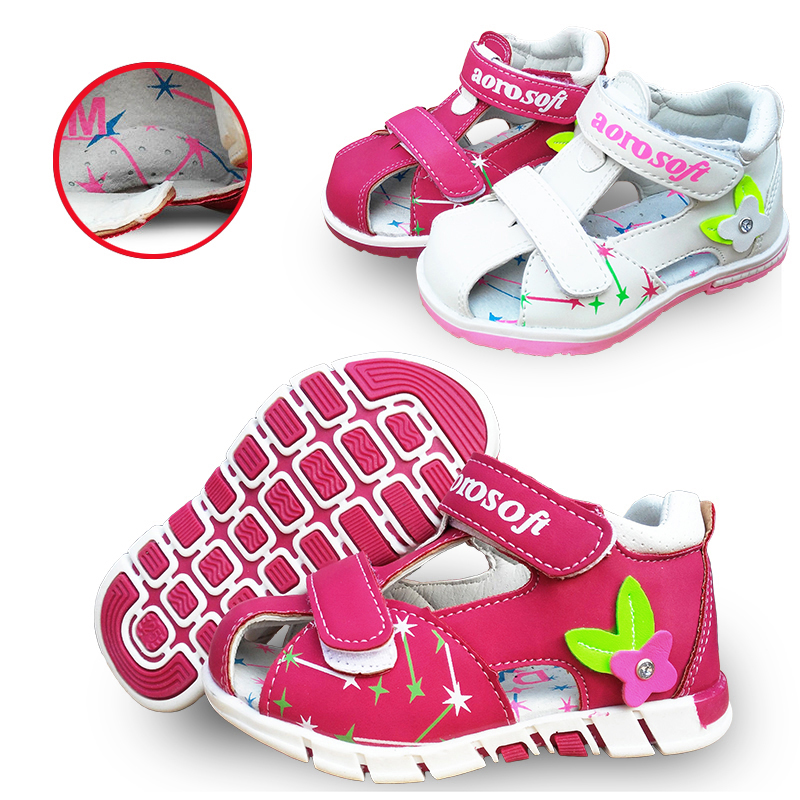 Lovely 1pair Summer Baby Arch Support Sandals Antiskid Girl  Orthopedic Shoes,Super Quality Kids/Children Soft Sole Shoes