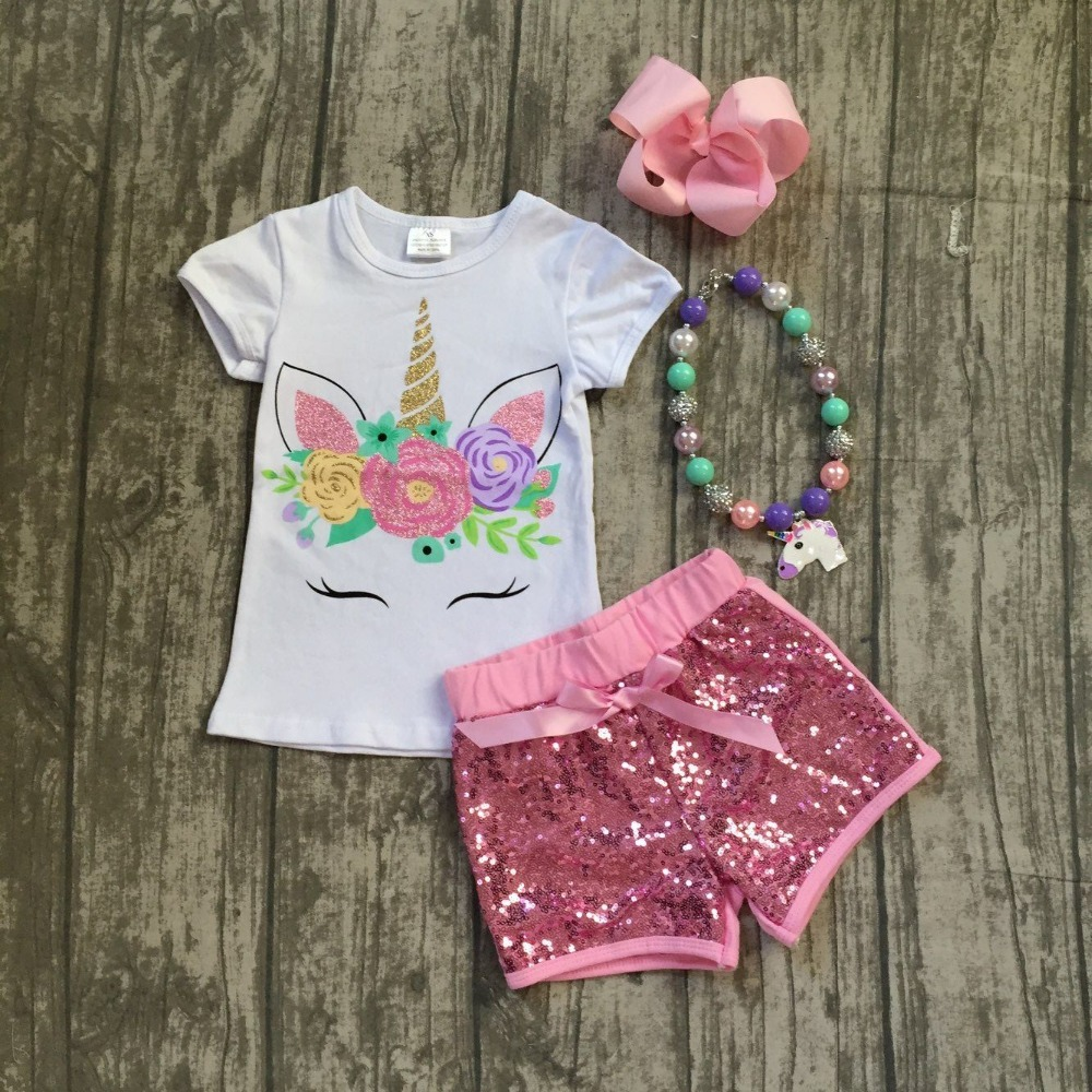 2018 new pink lavender unicorn short set light pink sequins with bow shoet short sleeves unicorn shirt matching with accessories джинсы revolution 5335 rinse 30 32