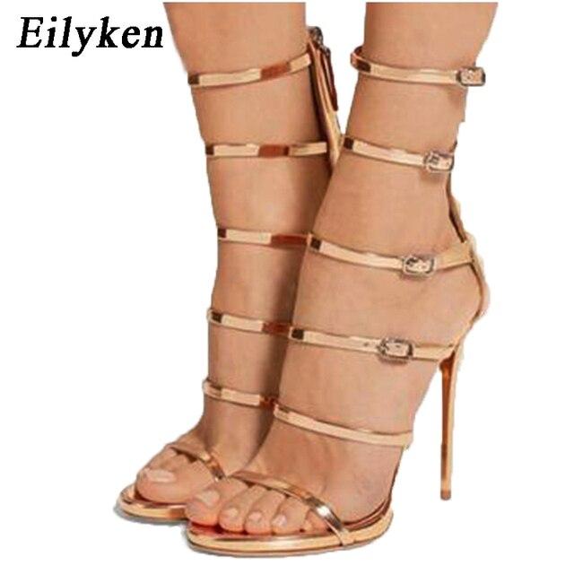 40 Sexy Pompe Taille Talons Cm 2019 Mode Femme Femmes Eilyken Doré 35 Sandales Peep Toe Gladiateur Noir 12 QsdxthCr