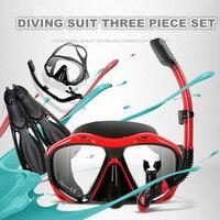 COPOZZ Dalış 3 Parça Setleri Dalış Gözlük + Tüm Kuru Solunum Tüpü + Yüzme Yüzgeçleri Yetişkin Maskesi Scuba Şnorkelle Yüzme ekipmanları