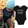 Infant Baby Boys Bodysuit Cotton Short Sleeve Jumpsuit Letter Black Outfits Summer One Piece Clothes Baby Boy 0-24M