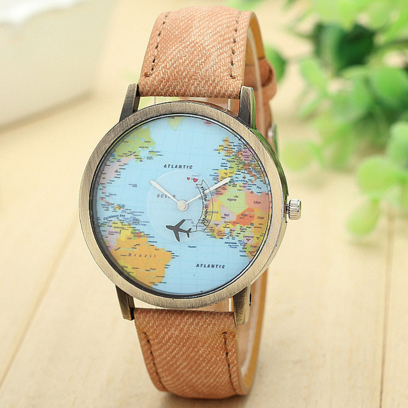 Excellent Quality Quartz Watches Brand Relojes New Map Women Dress Watch Denim Fabric Band Global Travel By Plane Print Clocks