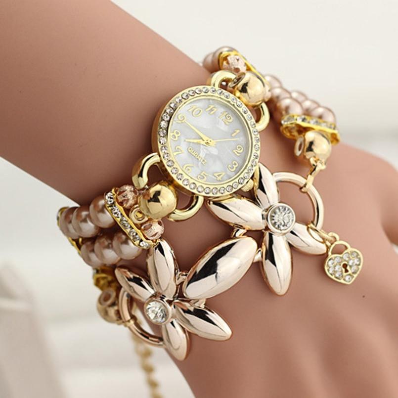 Excellent Quality 2016 New Brand Watches Pearl Luxury Gemstone Bracelet Wrist Watches Women Dress Fashion Watch Quartz Watches