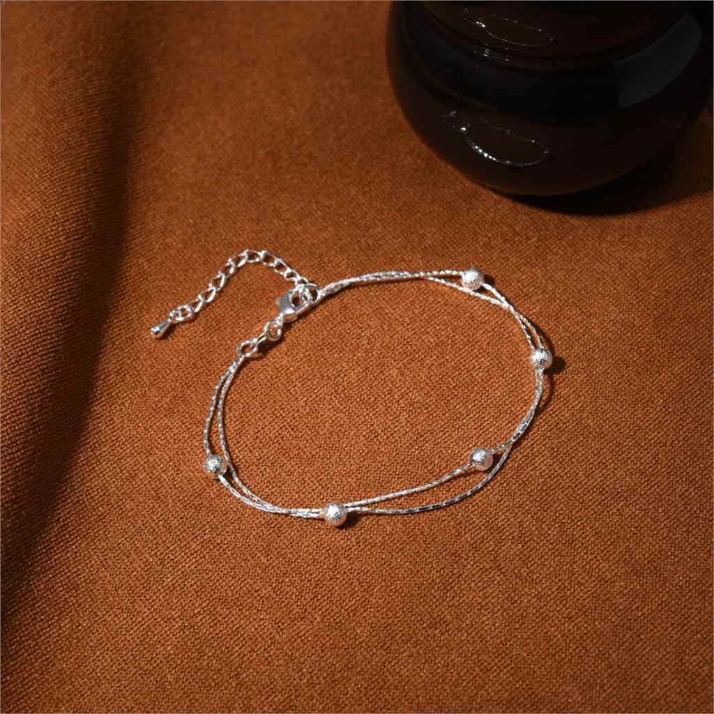 Cheap Fashion Jewelry Silver Plated with Double Layer Bead Charm Bracelet Bangles for Women Party