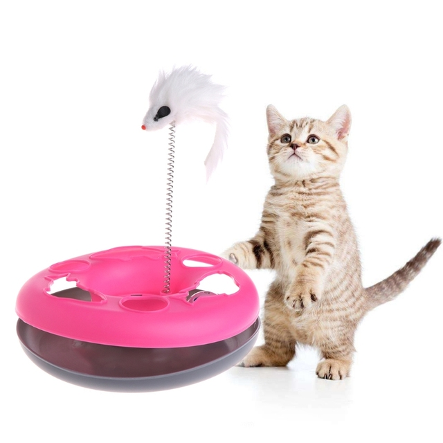 pet single layer cat games cat moving mouse spring play ball turntable round disk training interactive