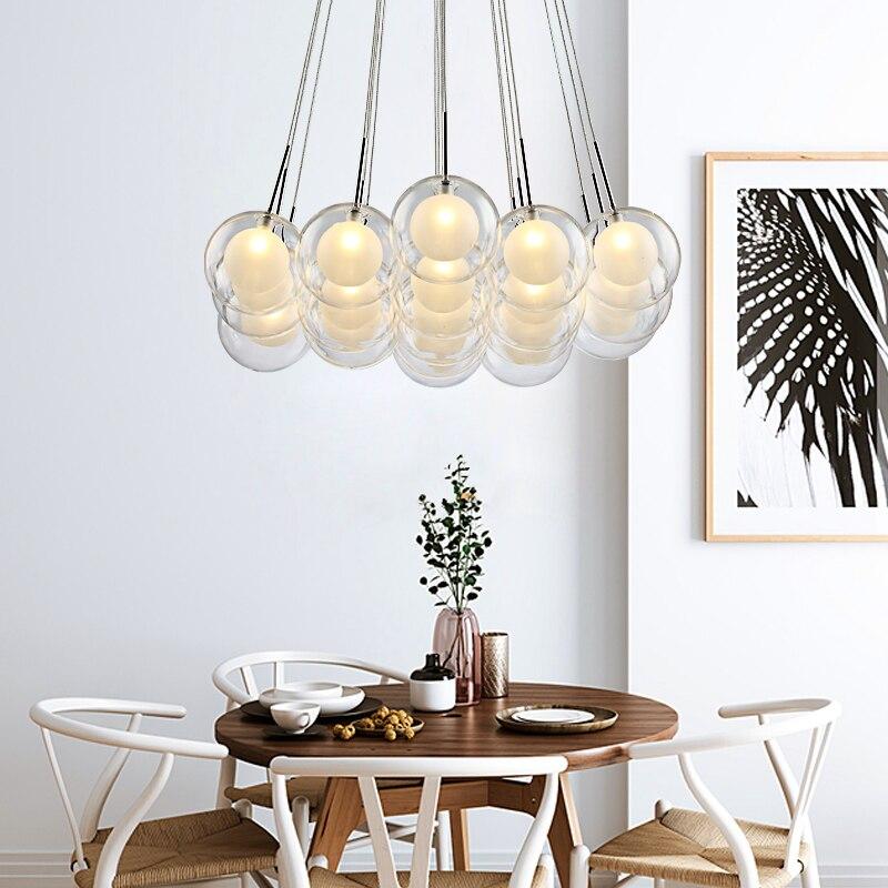 Современный светодиодный светильник люстра, скандинавский стеклянный шар, лампа для гостиной, подвесные светильники, домашний декор, для с... - 4