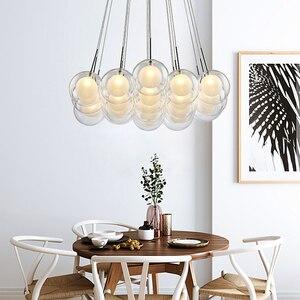Image 4 - نجفة حديثة بإضاءة LED مصباح كرة زجاجي إسكندنافي مصابيح معلقة لغرفة المعيشة ديكورات منزلية لغرفة الطعام تركيبات لغرفة النوم
