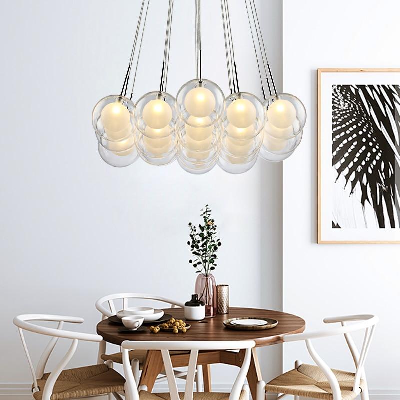 Moderna iluminação led lustre nordic bola de vidro lâmpada sala estar pendurado luzes casa deco sala jantar quarto luminárias - 4