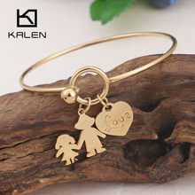 KALEN New 58mm Stainless Steel Gold/Silver Love Heart Bracelet & Bangle For Women Classic Mom & Child Bangles Mother's day Gifts(China)