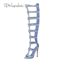 Pink Palms Women Summer Shoes Blue Denim High Heels Metallic Tiger Fretwork Over The Knee Boot