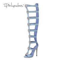 Pink Palms Women Summer Shoes Blue Denim High Heels Metallic Tiger Fretwork Over The Knee Boot