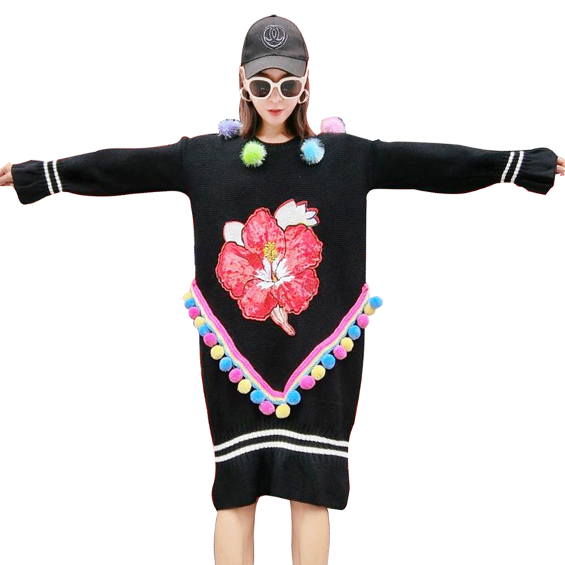 2017 Autumn Winter New Women Loose Sweater Dress Luxury Hair Ball Thicken Warm Pullover Female Floral