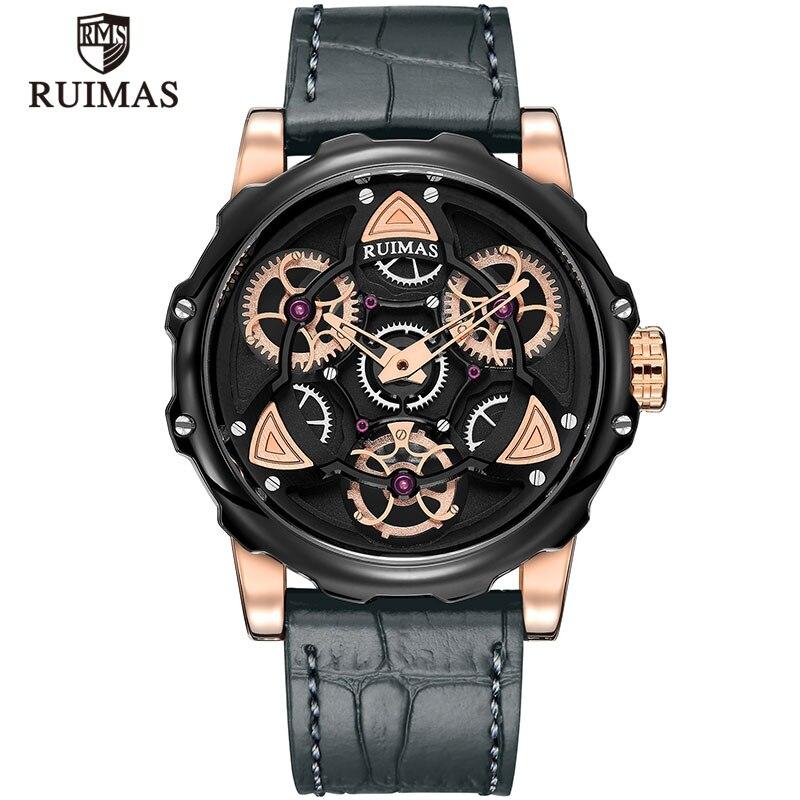 RUIMAS hommes armée Sport montres à Quartz Top marque 2019 homme vert montre-bracelet en cuir étanche Relogios Masculino horloge RL526