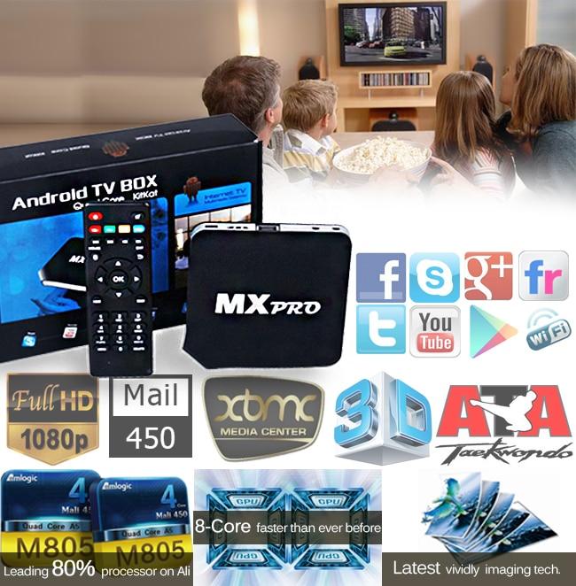 Android 4 4 2 Quad Core tv Box MX pro 450 RAM 1gb/8gb 1080P