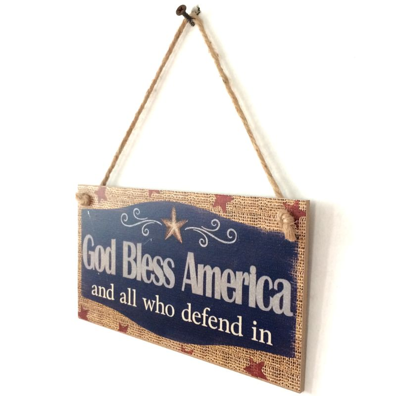 Image 3 - Rustic Wooden Hanging Plaque Sign Board God Bless America Room Wall Door Home Decoration Gift-in Plaques & Signs from Home & Garden